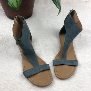 Franco Sarto Gelato Blue Leather T-Strap Sandals